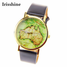 Irisshine i890 Women Watch lady presente da menina marca de luxo Casuais Das Mulheres Austrália Mapa Liga De Couro Banda Quartzo Analógico Relógio de Pulso