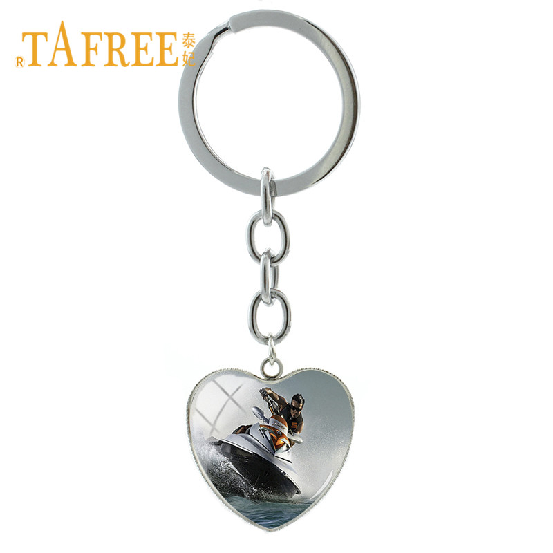 TAFREE Water Boat Art Picture Heart Shape Pendant Keychain Jet Ski Key Ring Jewelry Souvenirs Gift For Woman Men FQ43
