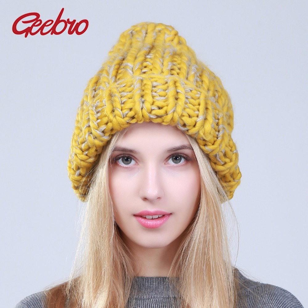 Geebro 2017 Female Winter Warm Mixed Color   Beanies   Handmade Thick Stick Knitted Coarse Lines Hat Crochet Women Lovely Caps JS247