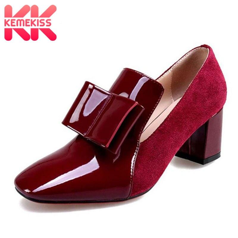 KemeKiss Tamanho 33-43 Das Mulheres Do Vintage de Couro Genuíno Sapatos de Salto Alto Mulheres Bowknot Couro Envernizado Salto Grosso Bombas Mulheres calçado