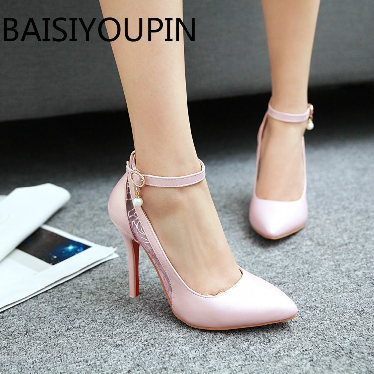 New Fashion Women Shoes Ladies Sexy Pointed Heels Heels Shoes Small Big Size 31 32 43 48 Red Bottom Pearl Dress Wedding Shoes brand new glossy sexy rome women pumps red gold silver high heels ladies nude dress shoes em81 plus big small size 12 30 43 48