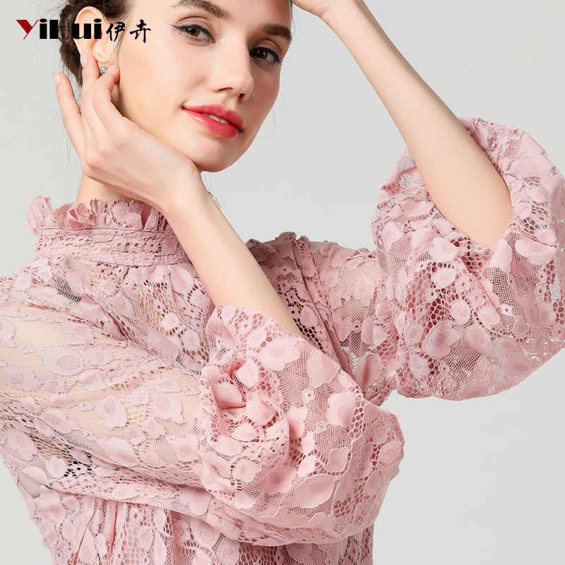 Женская розовая кружевная блузка, топы с цветочным рисунком, топы с топом, стоячий воротник, длинный рукав-фонарик, свободные летние блузки размера плюс 4XL