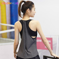 Colorvalue Lose Padded Fitness Top Sleeveless Frauen Quick Dry Oansatz Yoga Laufweste Plus Größe Dance Sport Tank Top mit bh