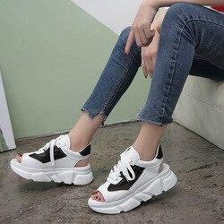 Женские сандалии на толстой подошве, римские сандалии на платформе с высоким каблуком, женские дышащие сандалии из сетчатой кожи для пляжа, ...