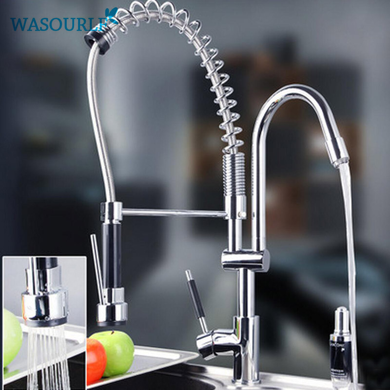 WASOURLF kitchen brass TWO  handle pull-down sink mixer hot and cold tap modern design kitchen chrome plated brass faucet single handle pull out pull down sink mixer hot and cold tap modern design