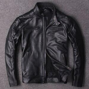 Image 2 - משלוח חינם. בתוספת גודל קלאסי גברים פרה עור מעילים, גברים של אמיתי עור אופנוען. מותג מנוע עור מעיל