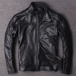 Image 2 - Free shipping.plus size classic men cow leather Jackets,mens genuine Leather biker jacket.Brand motor leather coat