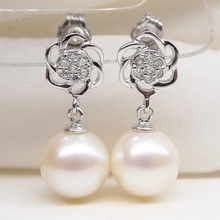 925 silver real natural big The new 925 Sterling Silver Rose shaped round light freshwater pearl earrings genuine short woman