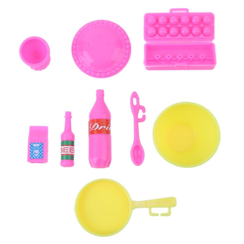 9pcs/Set Plastic Mini DIY Kitchen Dinner Cooking Tool for Barbie Doll Girl Play House Toy Birthday Gift Classic Doll Accessories