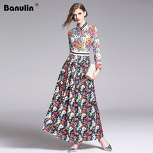 Banulin Fashion Runway Summer Long Sleeve Maxi Dresses Women's Elegant Party Luxious Floral Print Long Dress Holiday Dress цена
