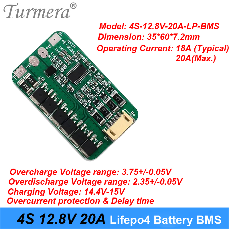 4S 20A 12.8V 14.4V for battery 18650 32600 32700 lifepo4 battery protection board 20a discharge current