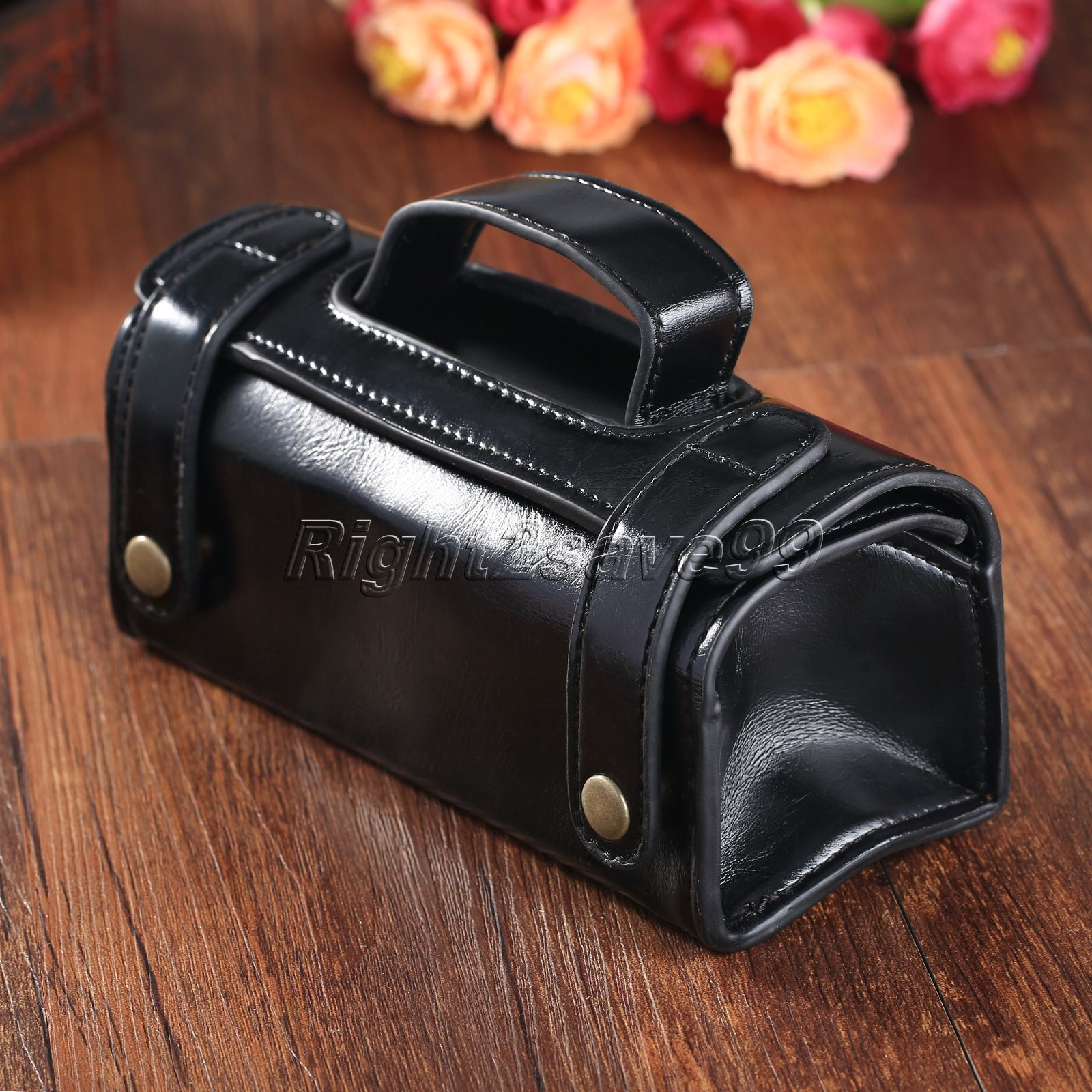 2017 Professional Barber Salon Shave Razor Brush Bamboo Handle Tool BagTravel Toiletry Bag Shaving Wash Case Organizer Bag Black