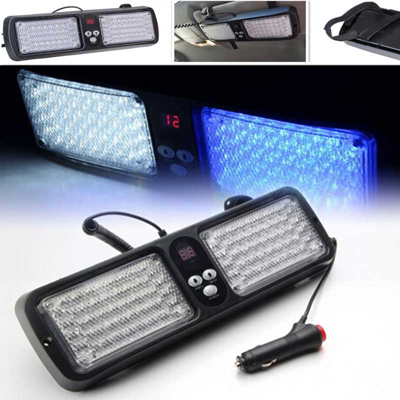 visor led blue red flashing light lamp 86led car auto interior decorative strobe light emergency. Black Bedroom Furniture Sets. Home Design Ideas