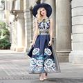 XXXXL!Top Quality New Brand Plus Size Long Dress 2016 Summer Women Vintage Floral Print Sleeveless A-Line Long Maxi Dress Large