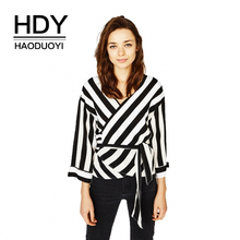 HDY Haoduoyi Women Black&White Stripe Kimono Drop Shoulder Blouse Tie Waist Loose V Neck Long Sleeve Shirt Daily Wear drop shoulder self tie cardigan