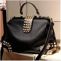 Fashion Designer Brand Vintage Handbag High Qaulity PU Leather All match Women Bags Shoulder Bags Bat smiley package Rivet