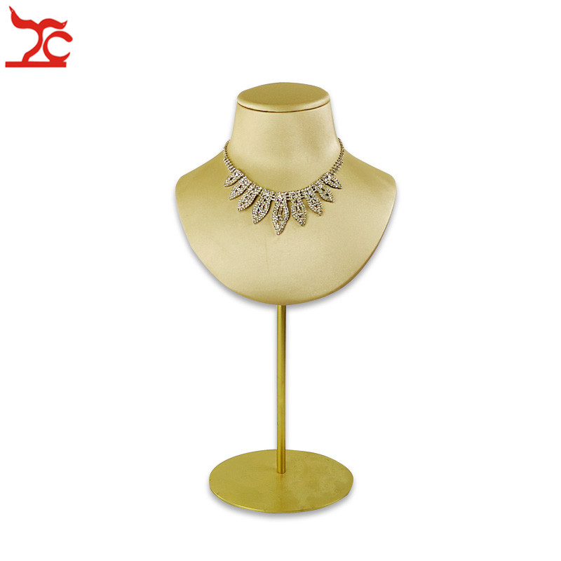 New Gold Necklace Display Bust Stand Leather Pendant Holder Mannequin With Adjustable Metal Shelf Shop Counter Promotion Bust Jewelry Packaging Display Aliexpress