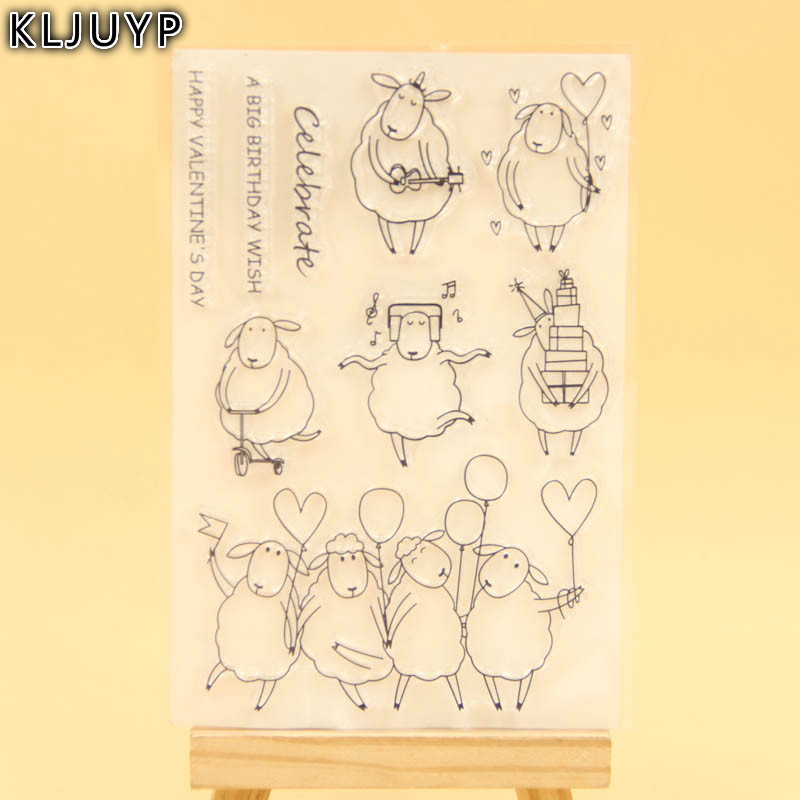 KLJUYP Little Sheep Transparent Clear Silicone Stamp/Seal for DIY scrapbooking/photo album Decorative clear stamp sheets lovely animals and ballon design transparent clear silicone stamp for diy scrapbooking photo album clear stamp cl 278