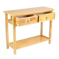 Classic Console Table With 2 Storage Drawer And Shelf Waxed Pine Hallway Home Floor Stand Table Desk Furniture