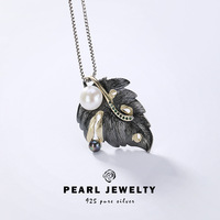 2019 New Fashion Authenic Natural Freshwater Pearl Pendant Necklace For Lady Elegance 925 Sterling silver Luxury Fine Jewelry