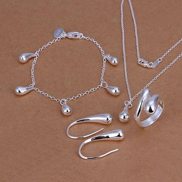 MüHsam Fabrik Preis Hohe Qualität Schmuck 925 Gestempelt Silber überzogene Tropfen Schmuck-sets Halskette Armband Armreif Ohrring Ring Smts223 Hochzeits- & Verlobungs-schmuck Schmuck & Zubehör