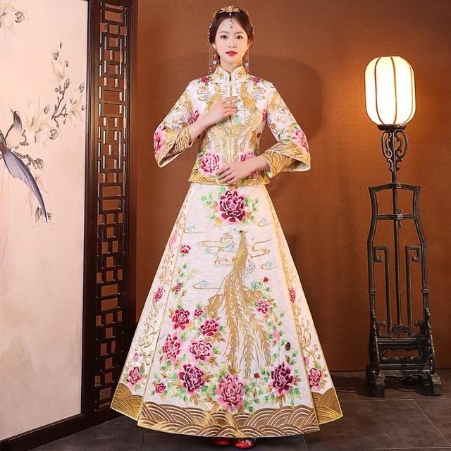 74297220b1 Luxury ancient Royal Bride Embroidery Phoenix Wedding Qipao Traditional  Chinese Dress Long Cheongsam Vintage Xiu He