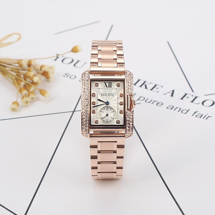 2019 New Square Rose Gold Women Watches!Luxury Female Rhinestone Stainless Steel Dress Watch Fashion Lady Diamond Wristwatch&Box2019 New Square Rose Gold Women Watches!Luxury Female Rhinestone Stainless Steel Dress Watch Fashion Lady Diamond Wristwatch&Box