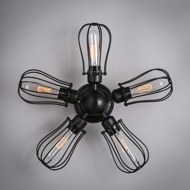Vintage Loft Metal Bulb Cage Ceiling Lights Lamp Iron Steampunk Fans Light With 5pcs