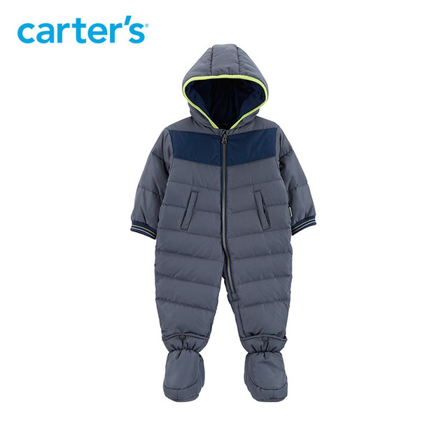 530c0225e Carters winter overalls baby boy snowsuit long hooded footies grey ...