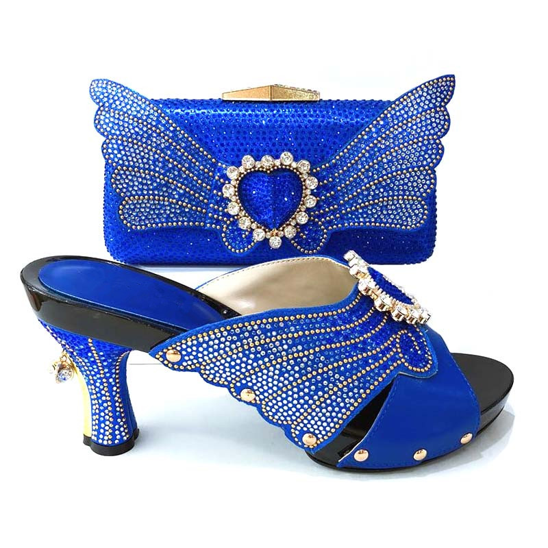 Fashionable royal blue women pumps and butterfly pattern rhinestone bag for african shoes match handbag set for dress V1165-2 retro butterfly pattern skater dress