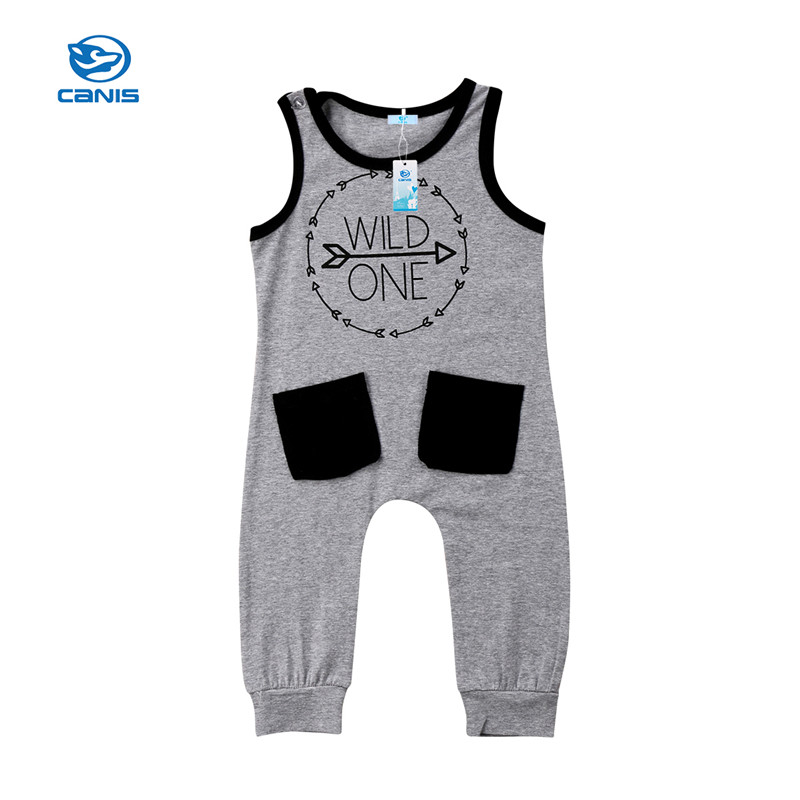 CANIS 2018 Toddler Baby Boy   Rompers   summer sleeveless gray wild one letter Birthday cotton   Romper   Clothes Outfits baby boys Ropa
