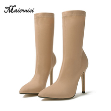 MAIERNISI Sock Boots 11cm Stiletto High Heels for Women Winter Plus Size Shoes sexy shoes