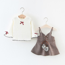 2017 Autumn Baby Girl Clothing Sets Long Sleeve pullover shirts dress Casual 2PCS Girls Suits for