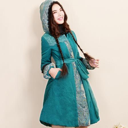 ФОТО 2017 warm National Retro women thick coat jacket Sweet Simple Slim lantern sleeve hooded cotton padded
