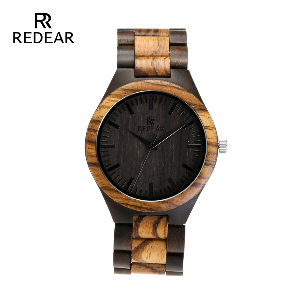 REDEAR Top Quality Wood Watch til mænd Wooden Fashion Brand Designer - Dameure - Foto 2