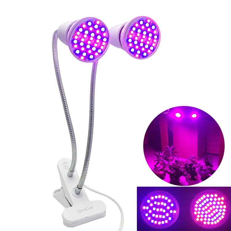 60 LED Plant Flower Grow Light Box Tent Cultivo Dual Bulb Phyto Lamp Clip Holder Veg Indoor Seeds Greenhouse Hydro Room Growing