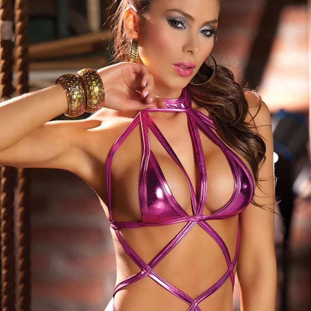 ผ้าพันคอหนัง Bodysuit ชุดชั้นในชุดสามจุดสลิงเซ็กซี่ไนท์คลับ DS เสื้อผ้า POLE Dance เสื้อผ้าเร้าอารมณ์ชุดชั้นใน