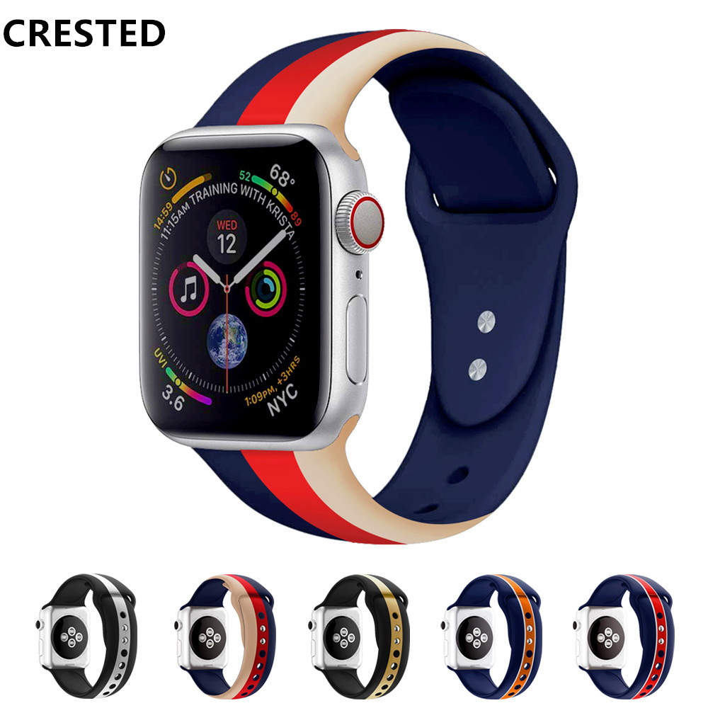 CRESTED Strap for apple watch band Apple Watch 4 3 iwath band 42mm 38mm 44mm 40mm Correa Silicone bracelet watchband beltCRESTED Strap for apple watch band Apple Watch 4 3 iwath band 42mm 38mm 44mm 40mm Correa Silicone bracelet watchband belt