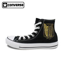 Golden Wings Converse All Star Women Men Shoes Attack On Titan Jiyuu no Tsubasa Anime Design Hand Painted Shoes CosPlay Sneakers