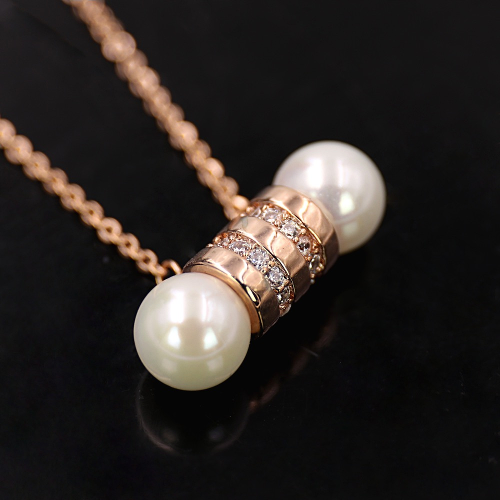 Aaa Cz Diamond Clavicle Necklace For Woman High Quality Pave Setting Bar  Shape Double Pearl Pendant 3 Color Classy Crafts