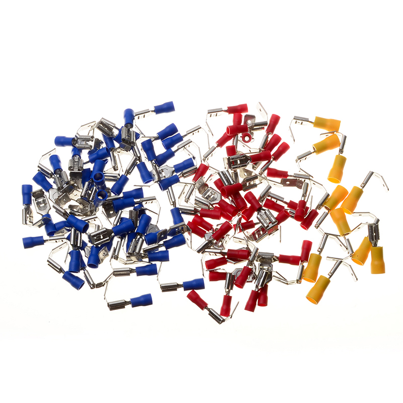 YT 100PCS Multicolor Piggy Back Spade Terminal Set Fully Insulated Butt Splice Wire Cable Crimp Electrical Terminators Connector 240pcs electrical crimp piggy back terminals set insulated cable butt splice terminators kit heat shrink spade wire connectors