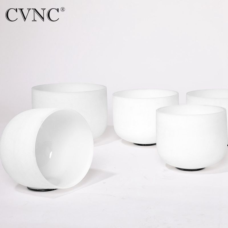 CVNC 440Hz o 432Hz Nuovo Chakra set di 4 pcs 8-A 10-C 12-E 14-F Glassato Cristallo Di Quarzo Singing ciotola