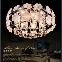 간단한 목회 침실 LED 크리스탈 천장 램프 따뜻한 세련된 거실 샹들리에 램프 꽃 레스토랑