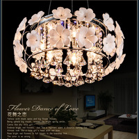 Simple pastoral bedroom LED crystal ceiling lamps warm and stylish living room chandelier lamp Flower Restaurant