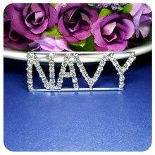 Handmade BlingBling Crystal Badge NAVY  Word Pin Unique Souvenir Gift