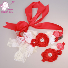 Red ivory white flower girl sash matching headband newborn maternity  accessories floral sash 8set lot photo prop dde732bfe5f7