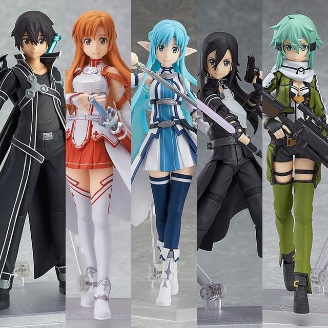 Anime Sword Art Online Asuna Sinon Kirito Leafa Yui PVC Action Figures Model Toys Dolls 15cm