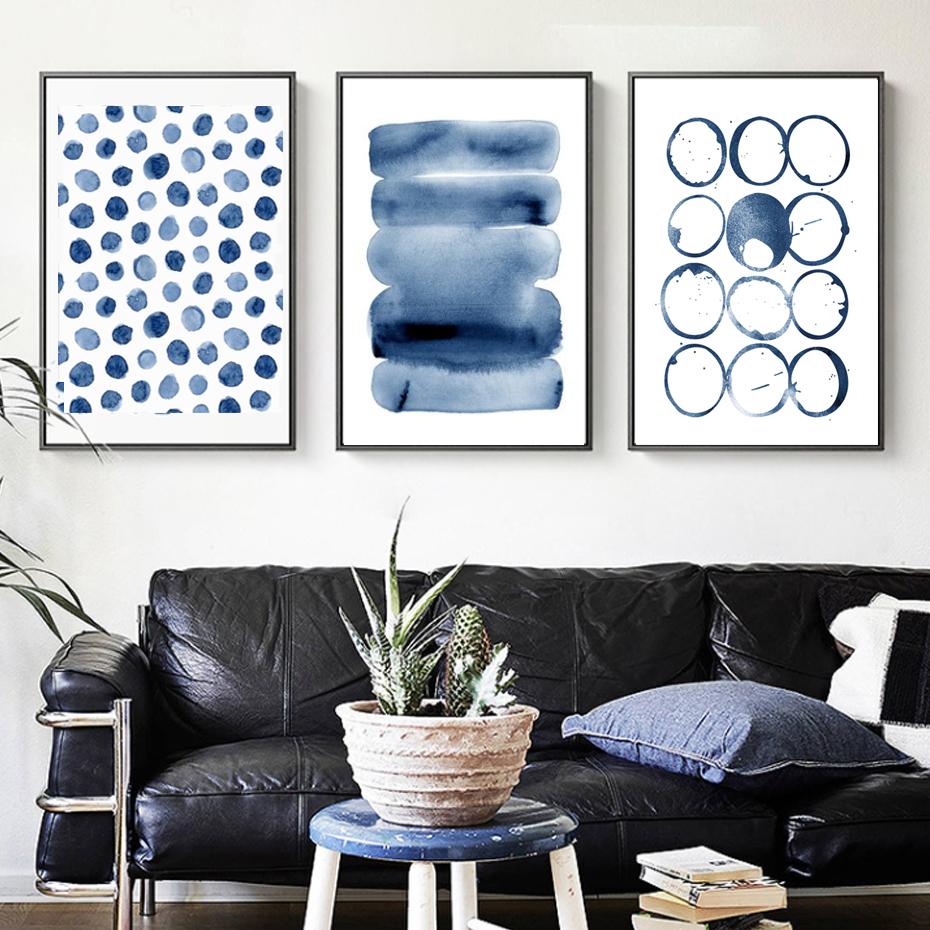 Modern Abstract Canvas Paintings Blue Wall Picture Nordic Posters And Wall Art Print Living Room Decoration Home Office Decor