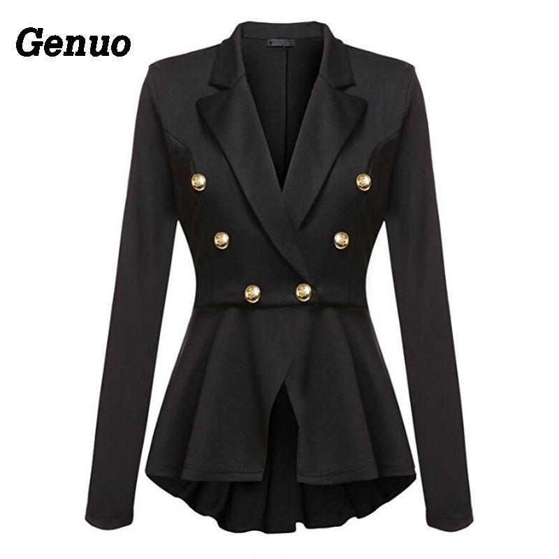 2019 Womens Business Blazer Suits Spring Autumn All-Match Double-Breasted Formal Coat Long-Sleeve Women Office Slim Blazer Coats