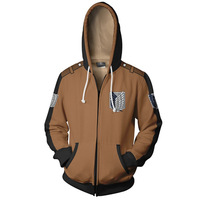 Anime shingeki no kyojin Cosplay Costumes Attack on Titan Zipper Hoodies Sweatshirts 3D Printing Unisex Adult man/women Clothing